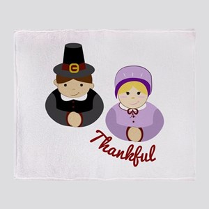 Thankful Pilgrims Throw Blanket